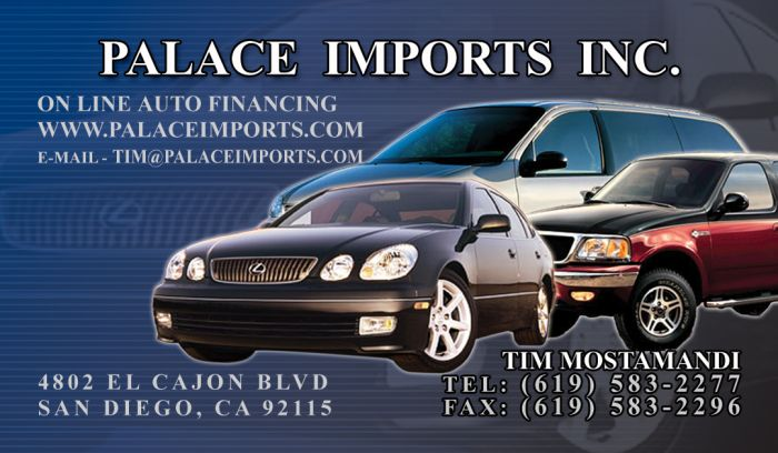 45 graphics design and print of business cards for palace imports car sales co reheart Image collections